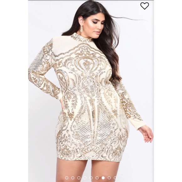 bcfcef77 Fashion Nova Dresses | Fashionnova Calcy Sequin Mesh Dress Gold Sz ...